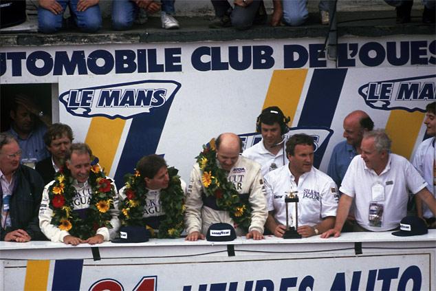Martin Brundle winning at Le Mans in 1990 with Tom Walkinshaws Silk Cut Jaguar team