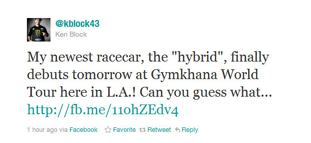 kblock43 tweet2 Ken Block reveals details about his Gymkhana FOUR racecar
