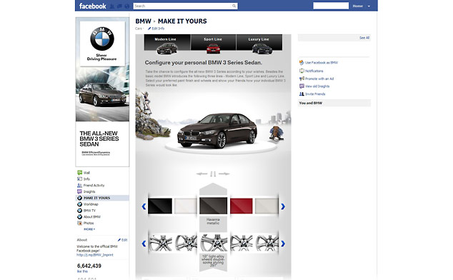BMW 3 Series configurator on Facebook