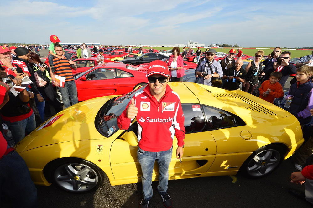 Ferrari record parade G4 Felipe Massa and Marc Gene lead a record breaking parade of Ferraris at Silverstone   w/VIDEO