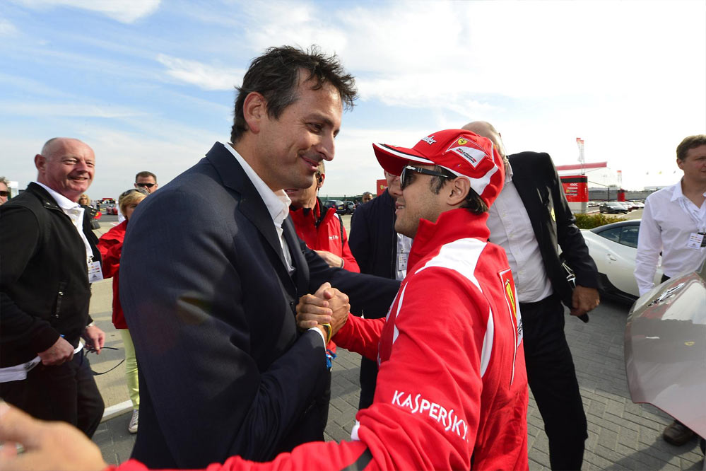 Ferrari record parade G6 Felipe Massa and Marc Gene lead a record breaking parade of Ferraris at Silverstone   w/VIDEO