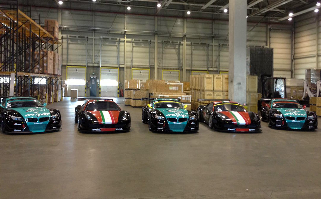 GT cars arrive in Baku, Azerbaijan for the City Challenge street race